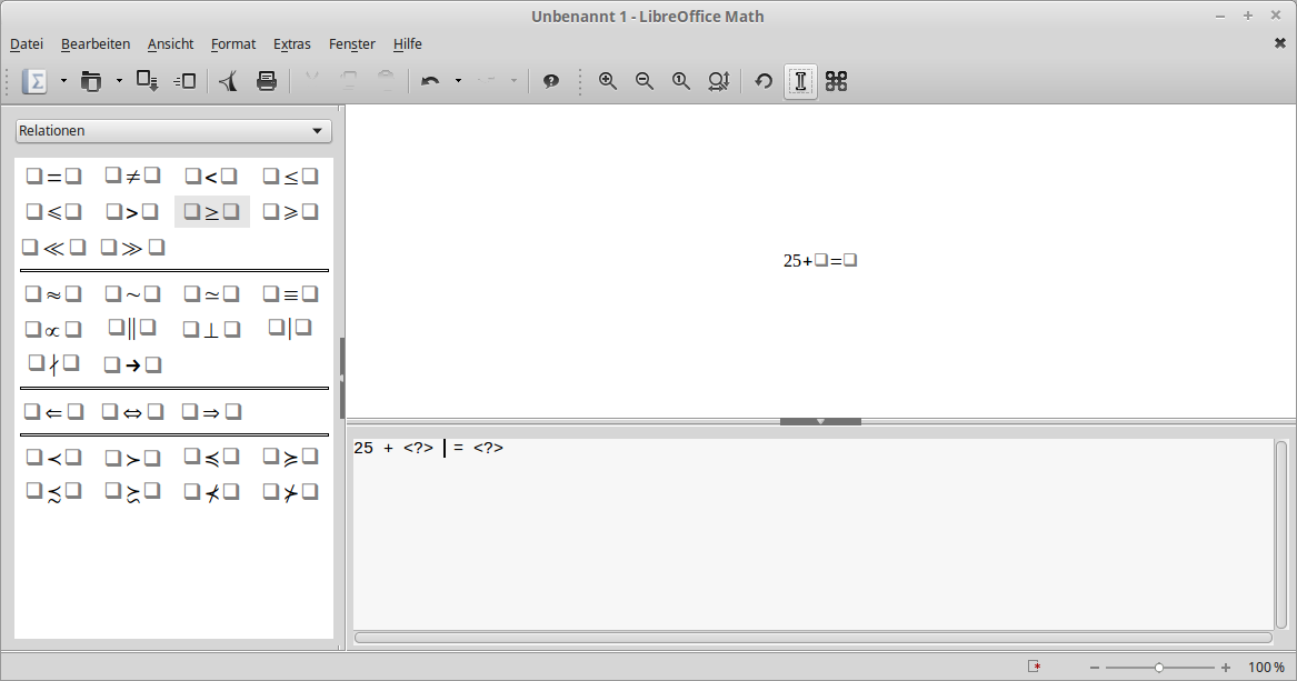 Libre Office - Math Anwendung